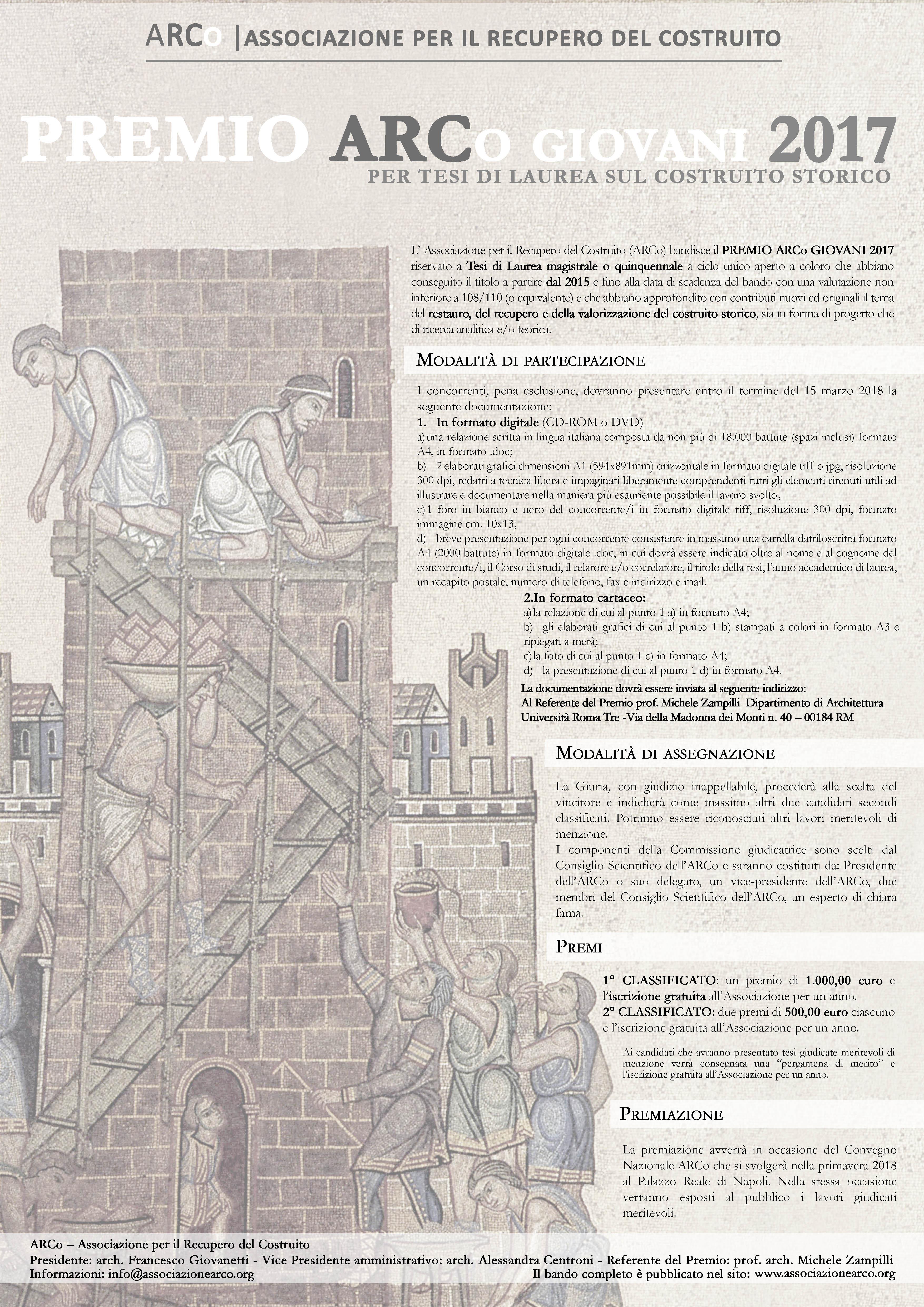 Calendario Tesi Unifi Architettura.Premio Arco Giovani 2017 Candidature Entro Il 15 Marzo 2018